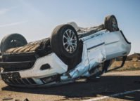 rollover car in the highway