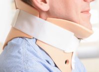 Man wearing a cervical collar