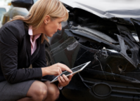 car accident insurer woman